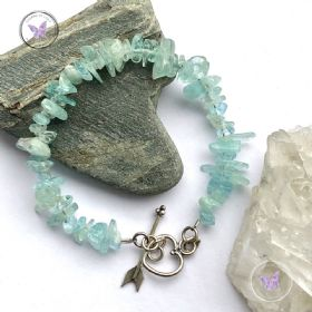 Aquamarine Chip Bracelet With Silver Toggle Heart Clasp